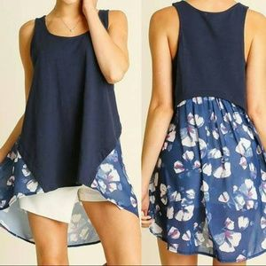 Navy Blue Floral High Low Tank Top